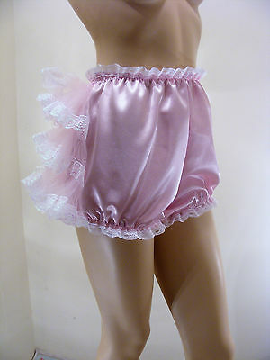 Adult Baby Sissy Pink Satin Ruffle Bum Diaper Cover Panties W/proof Locking Abdl