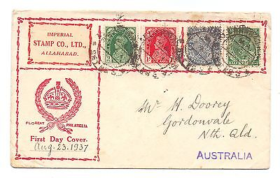 India 1937  George Vi Private Fdc 23 August, 1937 Mailed To Australia Transit Cd