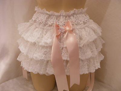 Adult Baby Sissy White Cotton Lace Ruffle Daper Cover Panties W/proof Locking