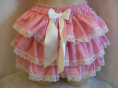 Adult Baby Sissy Pink Gingham Ruffle Daper Cover Panties W/proof Locking Abdl