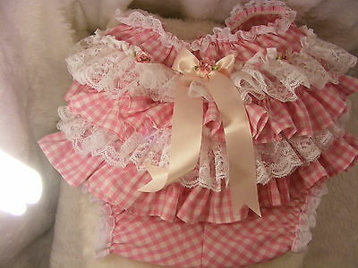 Adult Baby Sissy Pink Gingham Lace Ruffle Diaper Cover Panties W/proof/lock Abdl