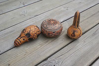 3 Vintage Carved Gourds Hand Carved Peru Decorative Ornament Animal Shaped