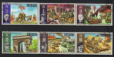 GRENADA 1970 25th ANNIV END WWII USED SET OF 6 CAT £13+