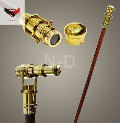 Walking Stick With Brass Telescope Wooden Cane Nautical Marine Fathers Day Gift