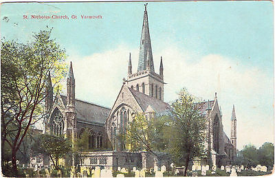 Vintage Postcard St Nicholas Church Gr Yarmouth  Great   Postmark Cancel 1907