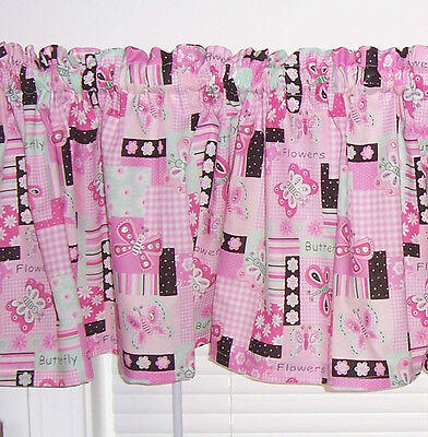 Pink Sparkle Butterfly Flowers Baby Girl Nursey Girls Room Curtain Valance