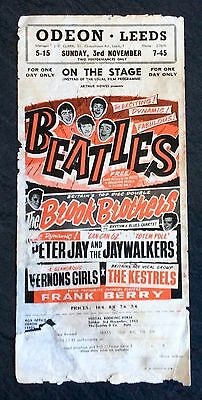 The Beatles Odeon Leeds 1963 Mega Rare ORIGINAL Gig Flyer Mini Poster Rock