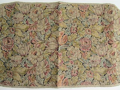 Antique Victorian Floral Woven Tapestry Runner Table Dresser Made in France