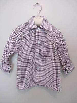 vintage boys shirt check formal red blue age 1 NWT's 70's