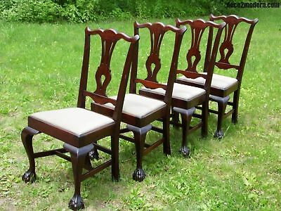 Vintage Set of 4 Solid Mahogany Chippendale style Ball & Claw Foot Dining Chairs