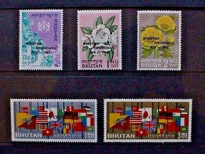 BHUTAN 1965 Winston Churchill Overprint. Set of 5. Mint Never Hinged. 45/49.