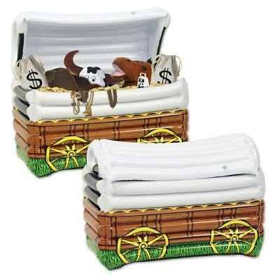Inflatable Chuck Wagon Cooler Western Theme Party Cooler Holds 48 12 oz Cans