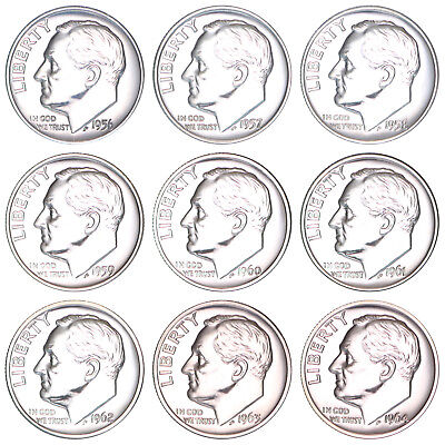 1956-1964 Roosevelt Dime Proof Run 90% Silver US Mint 9 Coin Set
