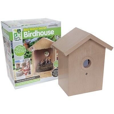 Roots And Shoots Bird Watch Secret Wooden Birdhouse Nesting Feeder Clear Window