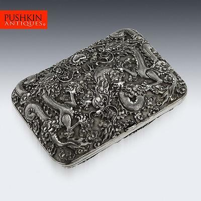 ANTIQUE 19thC CHINESE SOLID SILVER DRAGON CIGARETTE CASE, H.P.K, SHANGHAI c.1890