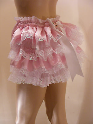 Adult Baby Sissy Pink Satin Frilly Bum Diaper Cover Panties Fancydress Cosplay