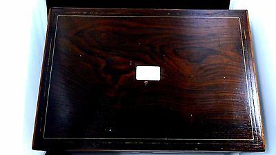 Vintage Wooden Wood Letter Secretary Desk Box Mother of Pearl Inlay Hinged Lid