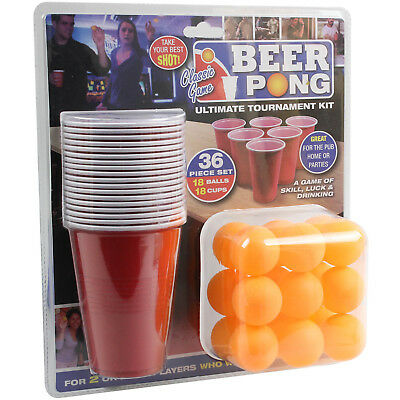 Original 36pc American Beer Pong Set Adult Drinking Game Red Plastic Cup Balls