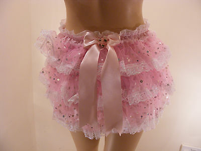 Adult Baby Sissy Satin Sequin Organza Diaper Cover Panties Fancydress Cosplay