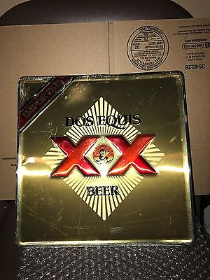 "Vintage Dos Equis Metal Beer Sign 12""x12"" Very Nice Condition"