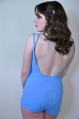 "vintage swimsuit 60's blue scoop back bullet bra 36"" bust"