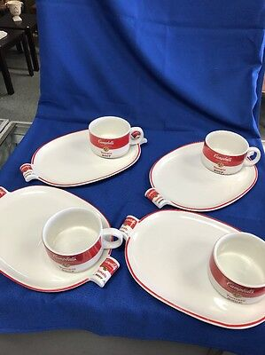 Campbell's Soup Set Of 4 Plates/Trays With Mugs  1994