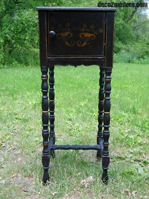 Antique Hitchcock style Stenciled Entry Stand End Table Nightstand Black Cabinet