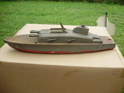 Old Wooden Toy Boat US Navy Rocket Ship Vintage Wood Play Battleship USA 15 1/2""
