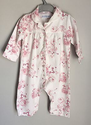 Little White Company Pink Vintage Rose Baby Pyjamas Baby-grow Sleepsuit  9-12