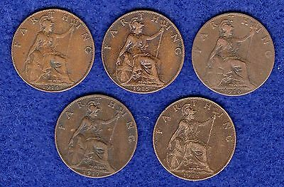 WWI, First World War, Great Britain, George V, Farthings, 1914-1918