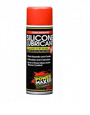 Power Maxed Silicone Lubricant Plastic Metal Glass Rubber Protect Spray 500ml