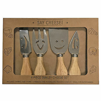 Smiley Face Stainless Steel Cheese Cutlery Set – 4 Piece Travel Size Set