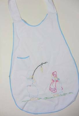 Antique childs apron hand embroidered white linen