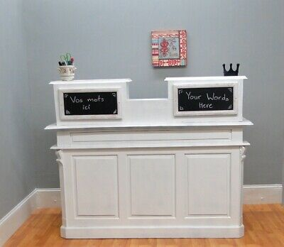 Antique Style White Store Counter French Restaurant Reception Desk