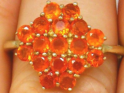 9CT Gold 9K Gold Fire Opal Beautiful cluster hallmarked ring size S