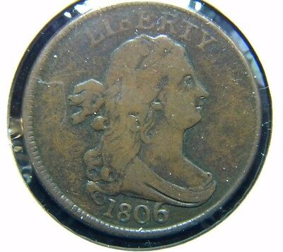 "1806 Draped Bust Half Cent***lg ""6"" With Stems***fine Condition***fc"