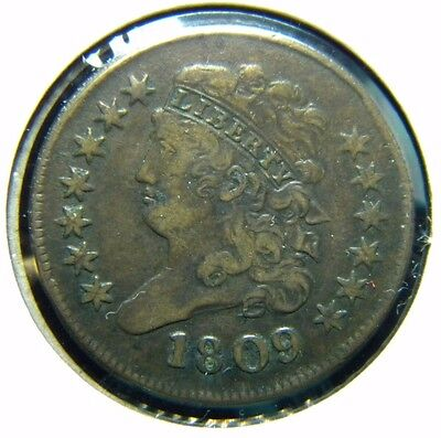 1809 Classic Head Half Cent**very Fine Condition**striking Error On Reverse**gf