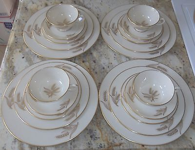 20 Pc Lenox Harvest R 441 Ivory Gold China Dish Set Usa Made Service For 4 L@@k!
