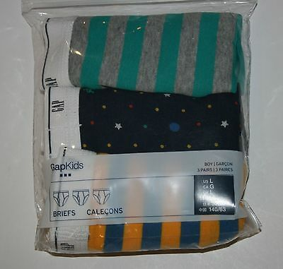 New Gap 3 Pack Boys Briefs Underwear Size L 10-11 Year NWT Stars Dots Stripes