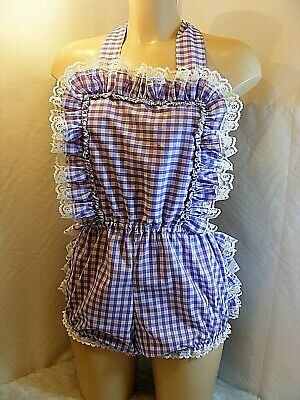 Adult Baby Sissy Lilac Gingham Romper Sun Suit Dungeries W/Proof Locking Abdl