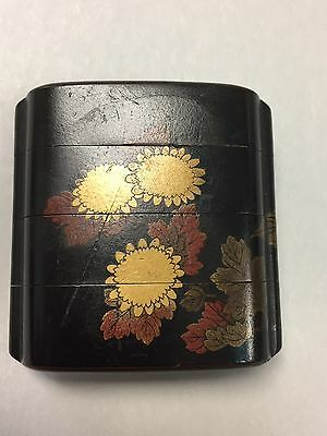 Antique Japanese lacquer inro, chrysanthemum and lotus flowers