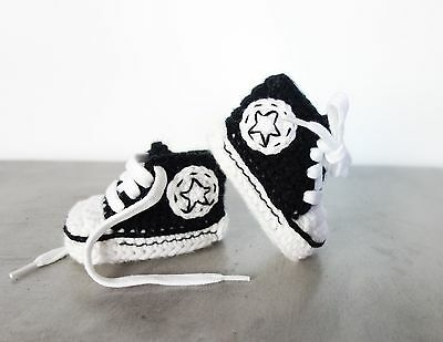 handmade cool crochet black baby shoes - gift shower all star