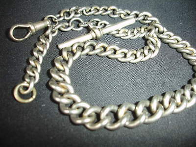 Vintage Antique NCR railway curb link silver plate Albert pocket watch chain