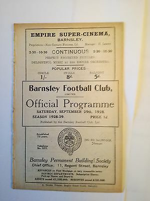 Barnsley vs Bristol City Rare Football Programme 1928-29 Ex Bound Volume
