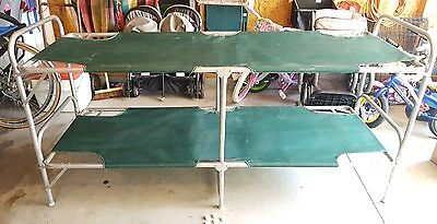 """Vintage Aluminum Camping Stacking Bunk Bed Cots Lightweight Folds to 40""""x26""""x7"""""""