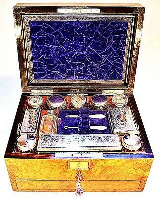 A Victorian Burr Walnut Fitted Vanity Case with Blue Decoration & with Key