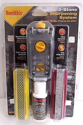 Smith's 2 Stone Precision Sharpening System Diamond and Arkansas Stone NEW