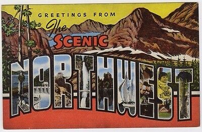 Large Letter Greetings from the Scenic Northwest Postcard