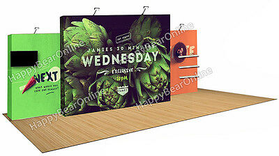 Trade show fabric tension Quick pop-up booth 20 ft TV monitor Shelves (Z-02)