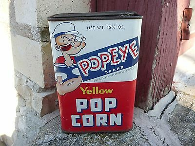 Vintage Original POPEYE Brand Yellow Popcorn Tin Can